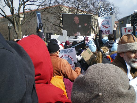As the crowd grew from 30,000 to an estimated 50,000 for the march to the White House, we listened to inspiring talks like this one from Bill McKibben, Founder of 350.org, which co-sponsored the rally along with the Sierra Club and 150 other environmental organizations.