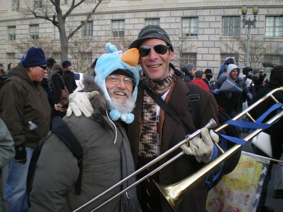 All 40,000 of us were entertained by live music and inspiring speakers. Robert Allen gave Jerry Lee Miller a bird hat, which he is wearing in this photo as he greets trombonist Soul Furnace, who played with his band on the streets around the White House for all of us to enjoy.