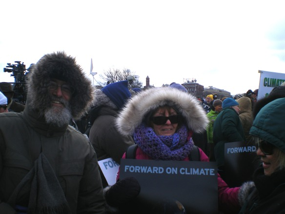"Rev. Jerry Lee Miller (left) and Susan Finn Miller (right) at the ""Forward on Climate"" rally in Washington D.C. Feb 17, 2013. Jerry donated all of his time for well over a month to recruit and organize over 150 concerned citizens from Lancaster and York PA to fill four big buses for the rally. Jerry is the Founder of ""HIVE of Planet-Loving Activity."" See their page on FaceBook."