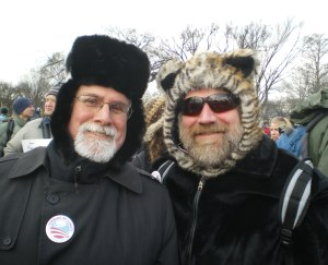 """Kevin (left) and Robert (right) bought new silk long underwear, found their warmest hats and attended one of the hottest events of the year -- """"Forward on Climate,"""" on the mall in Washington D.C. Four buses carried 150+ concerned citizens from York and Lancaster, PA to the Washington Monument, under the very able guidance of the Rev. Jerry Lee Miller, Founder of """"HIVE of Planet-Loving Activity"""" -- See our page on FaceBook."""