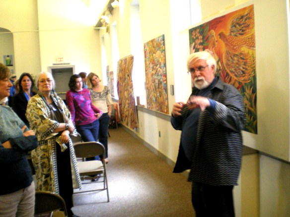 "Using his paintings as illustrations, Kevin discusses Global Climate Change with a group of participants in ""Healing Earth Pain Through the Arts"" at Community Mennonite Church of Lancaster, April 20, 2013"