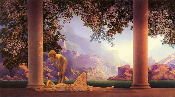 """Daybreak"" by Maxfield Parrish (1870 - 1966) is one of the American painter and illustrator's most famous neo-classical images. During his lifetime nudes in art were even used in advertisements for mainstream products."