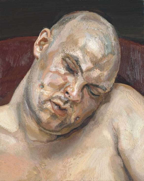 The German-born British painter Lucian Freud (1922 - 2011) painted a series of very powerful nude portraits of the notoriously shocking performance artist Leigh Bowery (1961 - 1994,) of which this is perhaps the most benign.