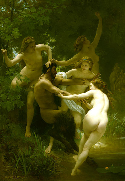 "William-Adolphe Bouguereau (1825 - 1905) was a highly successful artist in his time, even though the impressionists made fun of him and despised his style. ""Nymphs and Satyr,"" painted in 1873, is a prime example of the French academic painter's fondness for mythological themes and classical subjects, painted with polished neo-classical expertise."