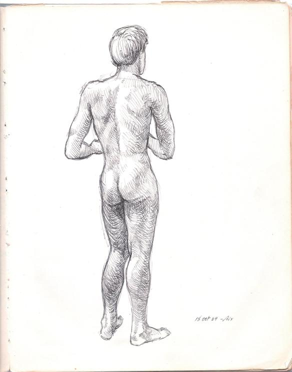 I drew this self-portrait with a ballpoint pen in my sketchbook, in the Fall of 1969, shortly after arriving in Aix-en-Provence, France, to begin my art studies at the Ecole des Beaux Arts, and other courses at the Institut des Etudes Francaises pour les Etudiants Etrangers.