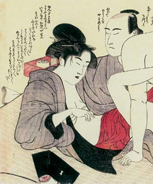 This Suncho woodcut print, circa 1790, is undeniably erotic, but also a beautiful example of classical Japanese fine wood block prints.