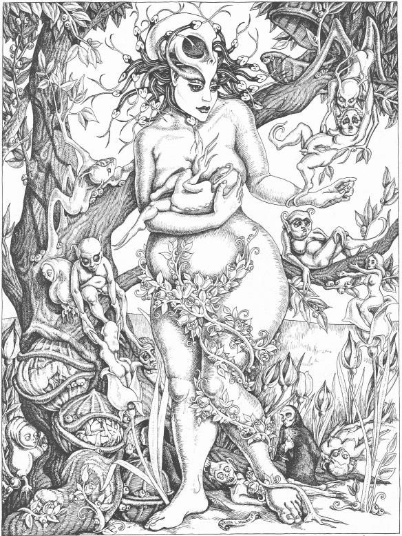 """In 1971 I produced this pen and ink cover, """"Magna Mater,"""" for an anthology of readings entitled, """"Life and Death,"""" published by Manchester College."""