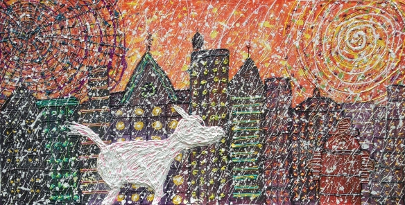 """A Winter Walk,"" 4x8 ft acrylic on canvas, 2013, Robert F Allen. Under both the moon and the sun, in a wintry cityscape, Robert's beloved Cairn Terrier, Scrappy, takes a purposeful walk toward a fire hydrant."