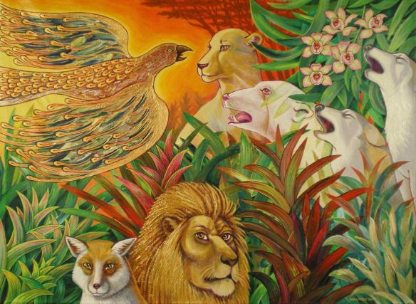 """Firebird Visit's the Elders,"" 3x4 ft acrylic on canvas, 2-artist collaborative painting by Robert F Allen and Kevin L Miller, signed ""Allen Miller,"" illustrating both the utopian nature of Earth and the peril from climate change."