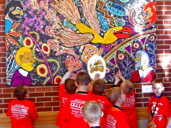 "Two weeks after ""PLEASE TOUCH THE ART"" was installed at Manchester University, 1,600 students, K - 3rd grade, visited Link Gallery and had close encounters with art. In this photo they are touching Robert F Allen's 4x7 ft 2013 acrylic on canvas, ""Escape!""  The exhibit continues until Nov 19, 2013."