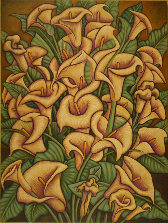 """Calla Lily Garden,"" 3x4 ft oil on canvas, Kevin L. Miller, 2011"