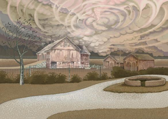 """Drought and Gathering Storm,"" Kevin L Miller, 2013, digital re-imagining of the R.L. Miller Farm, as it might have looked in the great drought of 2012, if the full-timber black walnut barn had not been demolished."