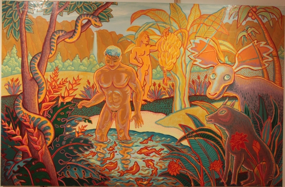"""Hawaii,"" 4x6 ft utopian enamel painting on clear vinyl, Kevin L Miller, c 1991"