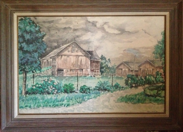 """The R.L. Miller Farm,"" watercolor, Kevin L Miller, 1966 (age 17,) depicts our family ancestral farm as it looked when I was a boy."