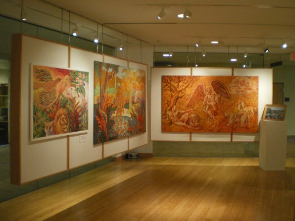 "Left to right: Firebird Visits the Elders, Hawaii, and Requiem are part of Kevin L Miller's retrospective at Manchester University, ""UTOPIA and APOCALYPSE."""
