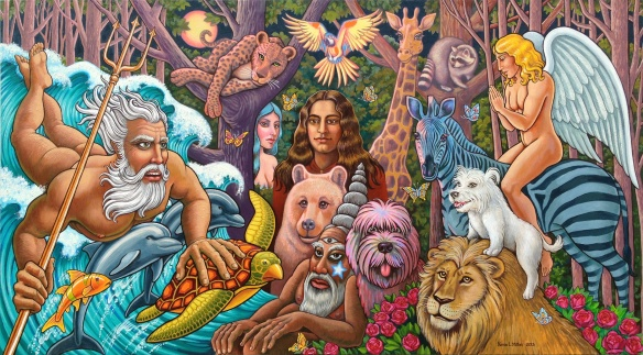 """Poseidon's Prophecy,"" 4x7 ft oil on canvas, Kevin L Miller, 2013. King Neptune brings apocalyptic news from the oceans to the utopian woodland spirits."