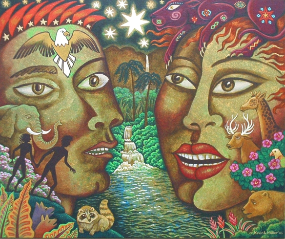 """The Revelations of Eve and Adam,"" 16"" x 20"" acrylic on canvas, 2004, Kevin L Miller"