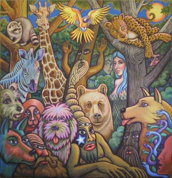 """Woodland Spirit Guides,"" 4x4 ft oil on canvas, 2010, Kevin L. Miller"